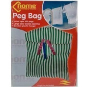 HOOKED PEG BAG IDEAL FOR STORING PEGS STRIPED DESIGN WASHABLE FABRIC