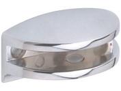 2 CURVED POLISHED CHROME GLASS SHELF CLAMP SUPPORT BRACKETS