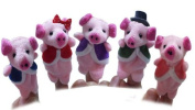Homgaty 5 Pcs This Little Pig Animals Finger Puppets Story Telling Nursery Fairy Tale The Perfect Birthday, Christmas Gift