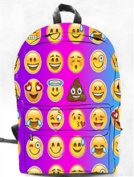 Backpack Bag EMOJI EMOTICON Canvas Full Size Pink Purple Blue