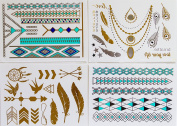 *Premium* Temporary Tattoo *Turquoise-silver-gold* Fashion Body Jewellery - Feathers - Necklace - Dreamcatcher - Bird - Tribal