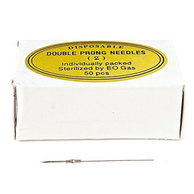 KP Permanent Makeup Disposable Double Prong Needles - Round (Box of 50 pieces)