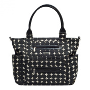 JJ Cole Caprice Nappy Bag, Black with Cream Pattern