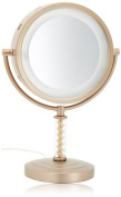 Jerdon HL856BC 20cm Halo Lighted Vanity Mirror with 6x Magnification, Brushed Brass Finish