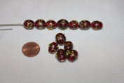 Venetian Style - Lamp Work Glass Beads - 14 X 10 Mm - Oval with Gold Works - 24 Beads Per Pack - Excellent 10 Gemstone Colours (Ruby