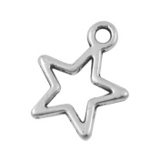 Packet of 30 x Antique Silver Tibetan 15mm Charms Pendants (Star) - (ZX08680) - Charming Beads