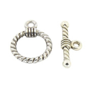 Pandahall 20 Sets Antique Silver Tibetan Style Alloy Ring Toggle Clasps, Lead Free & Cadmium Free & Nickel Free, Toggle: 19x14x3mm, Hole: 2mm, Tbars