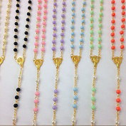 12 X Bulk Super Chic Mixed Colour Rosary Gold Necklace with Word Italy Cross for Baptism , First Communion/ Religious Favour Free Gift Bag 48cm
