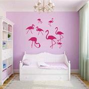 Wall Decals Nature Fauna Flamingo Pink Birds Flock of Birds Vinyl Decal Sticker Home Decor Bedroom Living Children's Any Room Murals ML213