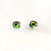 6mm Pair of Intense Green Glass Doll Eyes Cabochons for Craft Making
