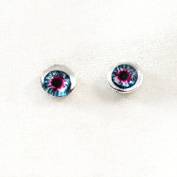 6mm Pair of Blue and Pink Glass Doll Eyes Cabochons for Craft Making