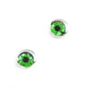 6mm Set of 2 Green Glass Doll Eye Cabochons for Craft Making or Jewellery Design