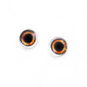 6mm Pair of Wide Brown Glass Doll Eye Cabochons for Crafts