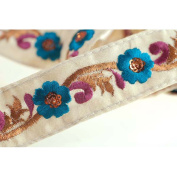 Indian Embroidered Ribbon Trimming or Shalwar Kameeze Border; Floral Traditional embroidery design with a metallic copper thread detail . A Original design only available to Neotrims as part of its Special Embellished Trimmings collection for Dressmaki ..