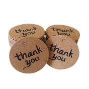 ASTRQLE 4cm Thank You Wedding Round Card Paper Tag Brown Kraft Paper Tag with Jute Twines