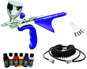 Harder & Steenbeck COLANI Airbrush with Createx Wicked Paint Set and Coiled Air Hose