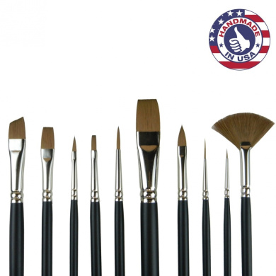10pc Synthetic Sable Artist Brush Set: Cruelty Free Paintbrushes for Watercolour Painting & Mixed Media. Humane Art Brushes, Look & Feel Like Natural Sable Without Costing A Wild Animals Life!