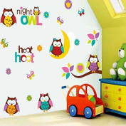 Lovely Owls Butterflies Branch Wall Decal Home Sticker Paper Removable Living Dinning Room Bedroom Kitchen Art Picture Murals DIY Stick Girls Boys kids Nursery Baby Playroom Decoration PP-JM8366