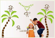 Kappier Cute Monkeys Dancing on the Giant Palm Trees Peel & Stick Removable Wall Decals