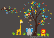 Baby Nursery Kids Children's Wall Decals: Safari Jungle Animals Wildlife Themed 210cm tall X 320cm wide (Inches)