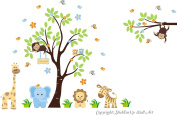 Baby Nursery Children's Wall Decals: Safari Jungle Animals Wildlife Themed 210cm X 340cm (Inches): Repositionable Removable Reusable Wall Art. vinyl wall decals