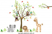 Baby Nursery Kids Children's Wall Decals: Safari Jungle Animals Wildlife Themed 210cm tall X 290cm wide (Inches)