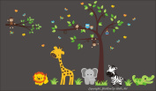 Baby Nursery Kids Children's Wall Decals: Safari Jungle Animals Wildlife Themed 190cm tall X 360cm wide (Inches)