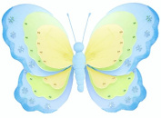 Hanging Butterfly 33cm Large Blue Green & Yellow Triple Layered Nylon Butterflies Decorations. Decorate a Baby Nursery Bedroom, Girls Room Ceiling Wall Decor, Wedding, Birthday Party, Bridal Baby Shower, Bathroom. Kids Childrens Butterfly Wall Decorati ..