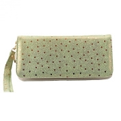 Mantos Eternity Women's Genuine Leather Sequin Purse Fashion Polka Dot long Wallet Clutch with Wristlet