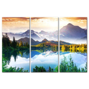 My Easy Art® 3 Pieces Modern Canvas Painting Wall Art The Picture For Home Decoration Fantastic Sunny Day Is In Mountain Lake Beauty World Landscape Mountain & Lake Print On Canvas Giclee Artwork For Wall Decor