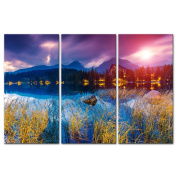 My Easy Art® 3 Pieces Modern Canvas Painting Wall Art The Picture For Home Decoration Mountain Lake In National Park High Tatra Strbske Pleso Slovakia Europe Vintage Effect Landscape Mountain & Lake Print On Canvas Giclee Artwork For Wall Decor