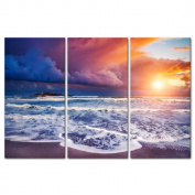My Easy Art® 3 Pieces Modern Canvas Painting Wall Art The Picture For Home Decoration Dramatic Morning Scene Of Mediterranean And Ionian Sea Passero Cape Sicilia Italy Seascape Sunrise Print On Canvas Giclee Artwork For Wall Decor