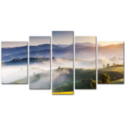 My Easy Art® 5 Pieces Modern Canvas Painting Wall Art The Picture For Home Decoration Fantastic Bright Hills By Sunrise Sunlight Scenery Carpathian Ukraine Europe Landscape Mountain Print On Canvas Giclee Artwork For Wall Decor