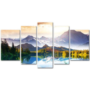 My Easy Art® 5 Pieces Modern Canvas Painting Wall Art The Picture For Home Decoration Fantastic Sunny Day Is In Mountain Lake Beauty World Landscape Mountain & Lake Print On Canvas Giclee Artwork For Wall Decor