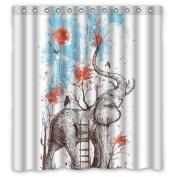 Winterby Custom Art Elephant Waterproof Fabric Bathroom Shower Curtain 170cm x 180cm