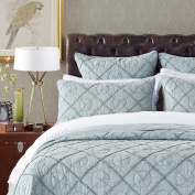 Country Idyl Luxury Pure Cotton Quilted Pillow Sham By Calla Angel, Euro, Fog