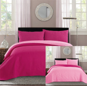 New King / Cal King Bed Luxury 3-piece Hot Pink / Light Pink Reversible Bedspread Coverlet set Solid Embossed Bedding set