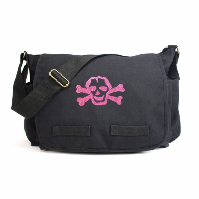 Black Heavyweight Canvas Messenger Bag Carry-All Nappy Bag with Glitter Pink Skull