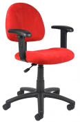Boss Microfiber Deluxe Posture Chair with Adjustable Arms, Red