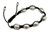 Silver White Freshwater Cultured Pearl Bracelet Knotted Adjustable Baroque Pearls 7 8 23cm