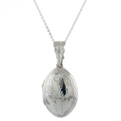 Sterling Silver High Polished Diamond-Cut Design Locket on 46cm Link Chain