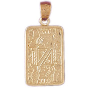14k Yellow Gold Playing Cards, Queen of Hearts Pendant
