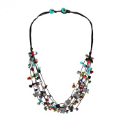 Pewter Butterfly Multicolor Stone Cluster Strands Necklace