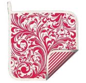 Michel Design Works CANDY CANE Christmas Potholder - Scrolls & Stripes