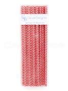 CleverDelights Biodegradable Paper Straws, Red Chevron, Box of 100