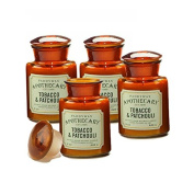 Paddywax Candles Apothecary Collection Jar Candle, 240ml, Tobacco and Patchouli - Set of 4