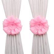 Sandistore Rose Flower Window Curtain Tieback Buckle Clamp Hook Fastener Decor