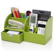 KINGOM™ 7 Storage Compartments Multifunctional PU Leather Office Desk Organiser,Desktop Stationery Storage Box Collection, Business Card/Pen/Pencil/Mobile Phone /Remote Control Holder Desk Supplies Organiser