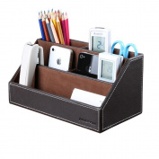 KINGFOM™ Home Offfice Wooden Struction Leather Multi-function Desk Stationery Organiser Storage Box, Pen/Pencil ,Cell phone, Business Name Cards, Note Paper, Remote Control Holder Organiser