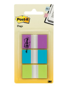 Post-it Flags, Purple, Blue, Green, Durable, Writable, Repositionable, Sticks Securely, Removes Cleanly, .240cm . Wide, 60/On-the-Go Dispenser, 1 Dispenser/Pack,